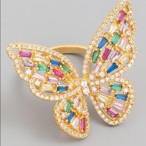 Rhinestone Butterfly Ring